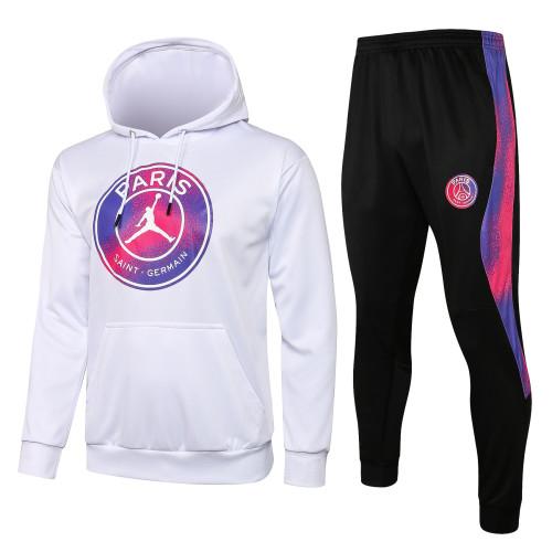 21-22 PSG Jordan White Hoodie Suit