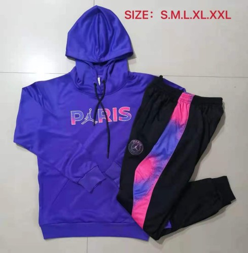 21-22 PSG Jordan Purple Blue Hoodie Suit