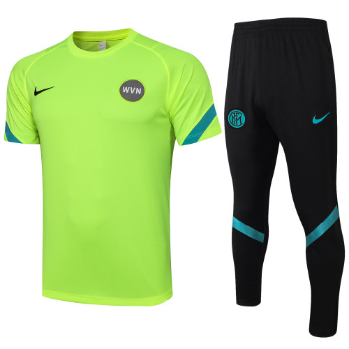 21-22 Inter Milan fluorescent green Short Sleeve Suit