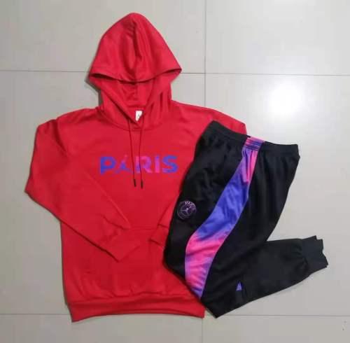 21-22 PSG-Jordan Red Hoodie Suit