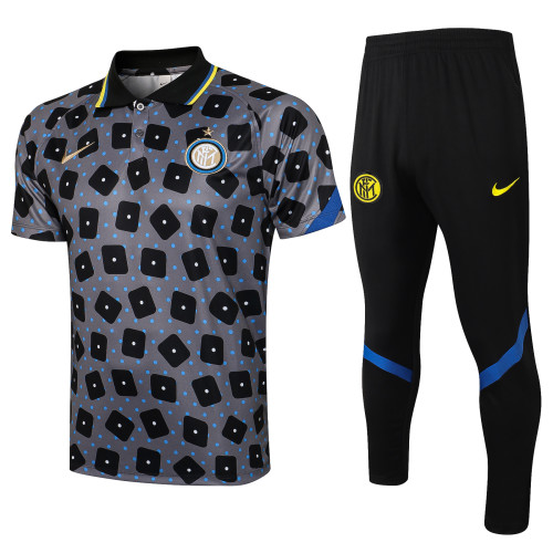21-22 Inter Milan Grey Polo Short Sleeve Suit