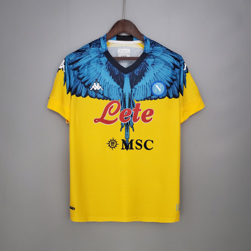 Napoli Yellow blue Kappa × Marcelo Burlon Soccer Jersey