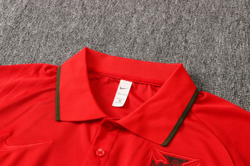 21-22 Portugal Black-Red Polo Short Sleeve Suit