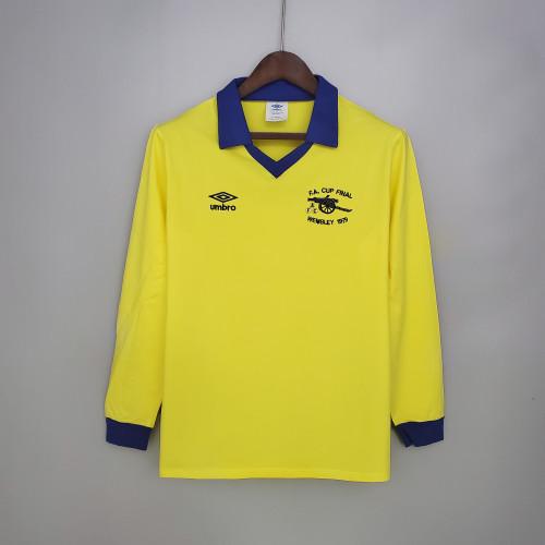 71-79 Arsenal Away Yellow Long Sleeve Retro Jersey