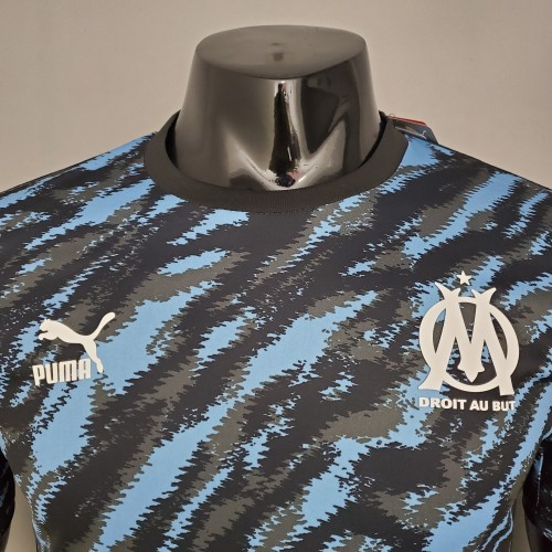 21-22 Marseille Blue and black camouflage Player Jersey