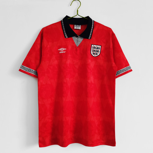 1990 England Away Red  Retro Jersey