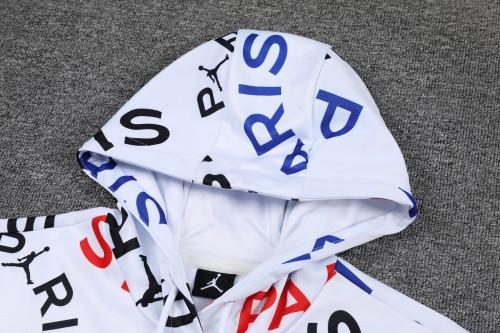 21-22 PSG Jordan White-Black Hoodie Suit