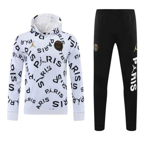 21-22 PSG Jordan White Black Hoodie Suit