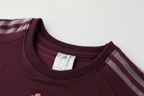 21-22 Manchester United purplish Red round neck Sweater