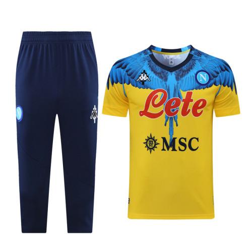 21-22 Napoli Yellow Short sleeve training Suit(cropped pants)