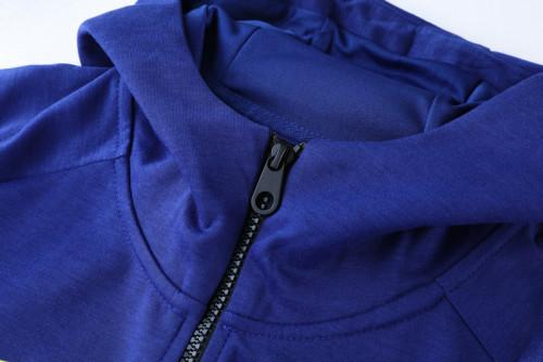 21-22 Barcelona Blue-Red Hoodie Suit