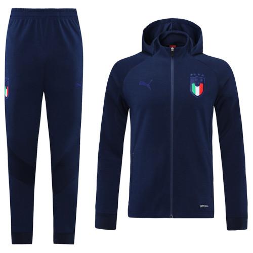 2021 Italy Home Dark Blue Hoodie Suit
