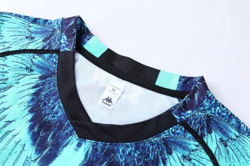 21-22 Napoli black blue Short sleeve training Suit(cropped pants)