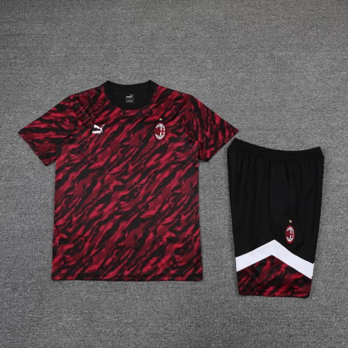 21-22 AC Milan Red and black Short Sleeve Suit(With short)