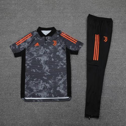 21-22 Juventus Black Polo Short Sleeve Suit