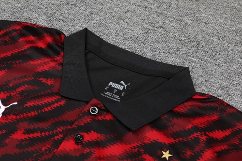 21-22 AC Milan Red and black Polo Short Sleeve Suit