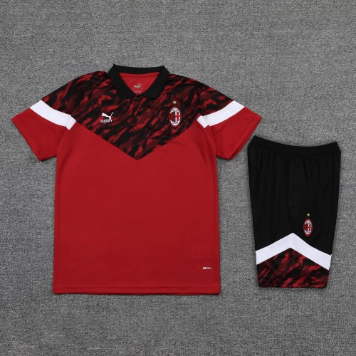 21-22 AC Milan Red Polo Short Sleeve Suit