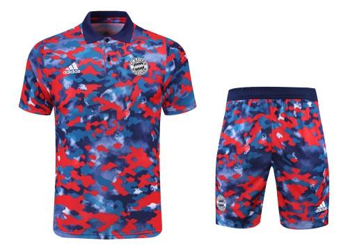 21-22 Bayern Munich camouflage Polo Short Sleeve Suit