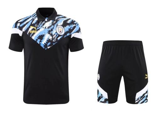 21-22 Man City Black Polo Short Sleeve Suit