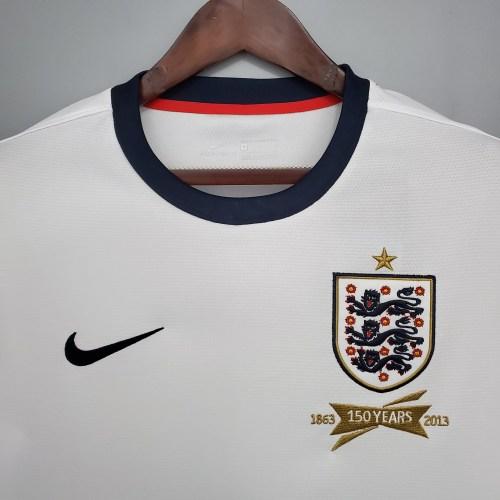 2013  England Home White Retro Jersey