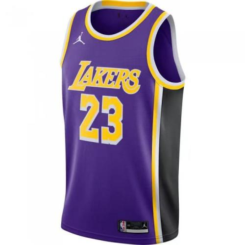 Lakers Violet Retro Round Neck Hot Pressed Jersey