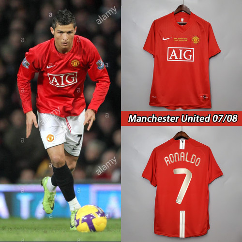 07-08 Manchester United Home Red Retro Jersey with 7#RONALDO