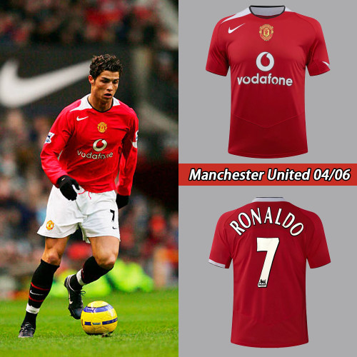 04-06 Manchester United Home Red Retro Jersey with 7#RONALDO