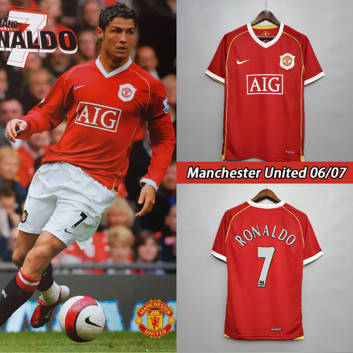 06-07 Manchester United Home Red Retro Jersey with 7#RONALDO