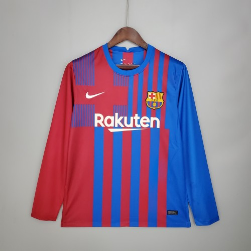 21-22 Barcelona Home Long Sleeve Fans Jersey