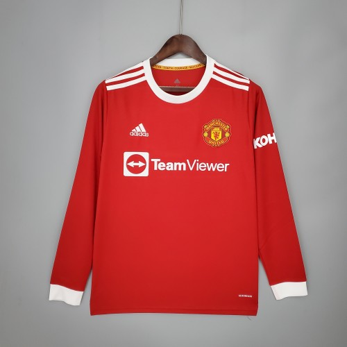 21-22 Manchester United Home Long Sleeve Jersey