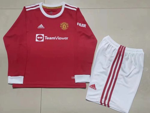 21-22 Manchester United Home Red Long Sleeve Kid Kit
