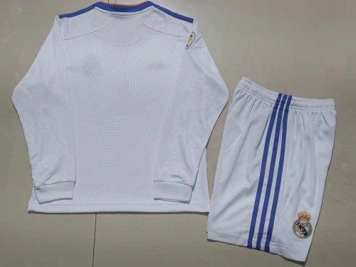 21-22 Real Madrid Home White Long Sleeve Kid Kit