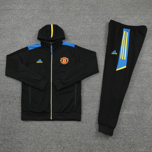 21-22 Manchester United Black Hoodie Suit