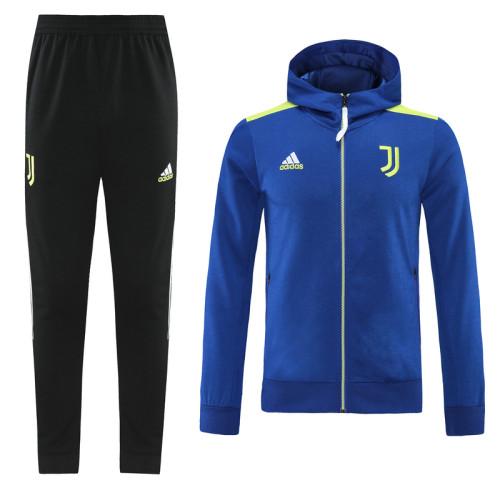 21-22 Juventus Blue Hoodie Suit