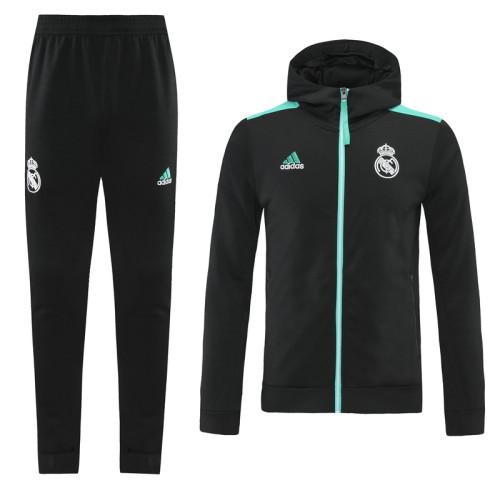 21-22 Real Madrid Black-Green Hoodie Suit