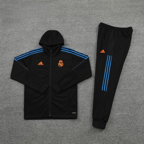 21-22 Real Madrid Black Hoodie Suit