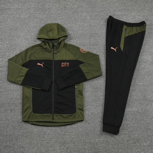 21-22 Man City Green Hoodie Suit