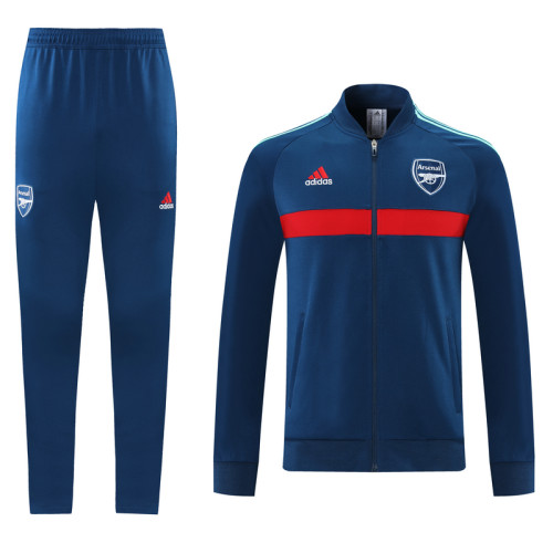 21-22 Arsenal Blue-Red Jacket Suit