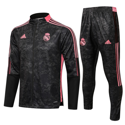 21-22 Real Madrid Black-Pink Jacket Suit