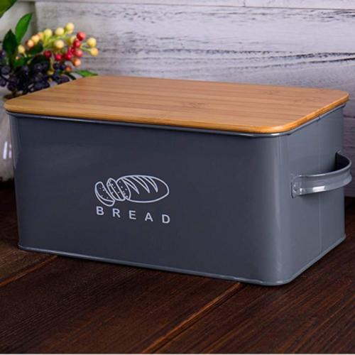 Premium Large Black Metal Bread Holder Storage Box