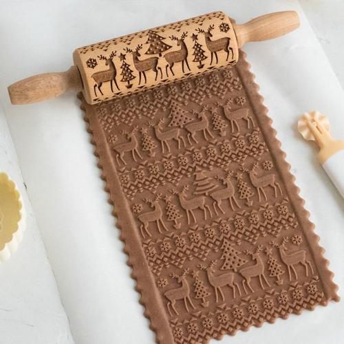 Decorative Holiday Embossed Christmas Rolling Pin