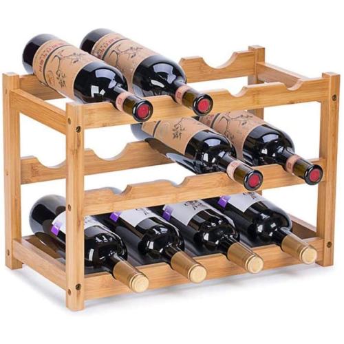 Natural Free Standing Bamboo Countertop Wine Bottle Storage Rack