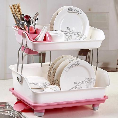 Compact 2 Tier Kitchen Dish Drying Drainer Rack