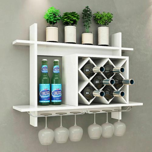 Premium Wooden Wall Mounted Wine Glass Holder Shelf Rack