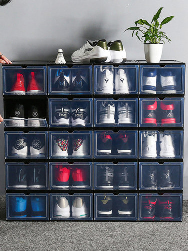Stackable Shoe Organizer Clear Plastic Shoe Boxes for Display Shoes Sneakers Storage