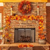2 Pieces Of Artificial Maple Leaf Garland Hanging Plants In Autumn