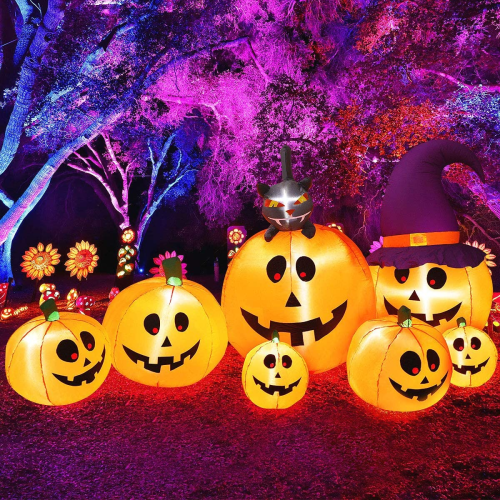 7ft Halloween Inflatable Seven Pumpkins Family Decorations LED Blow Up Lighted for Yard