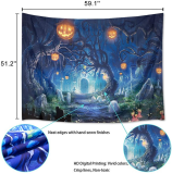 Halloween Pumpkin Cemetery Tapestry Wall Hanging for Bedroom Living Room Dorm Decor