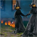 3 Set Visiting Light-Up Witches with Stakes Halloween Decorations