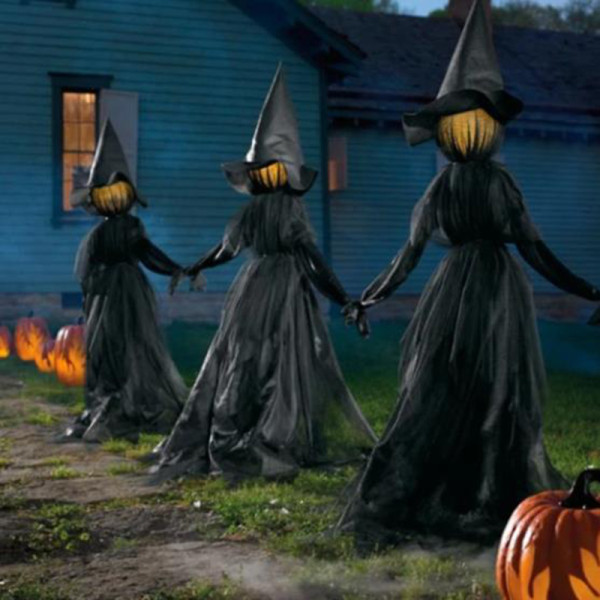 Set of 3 Outdoor Halloween Decor Light-Up Witches with Stakes